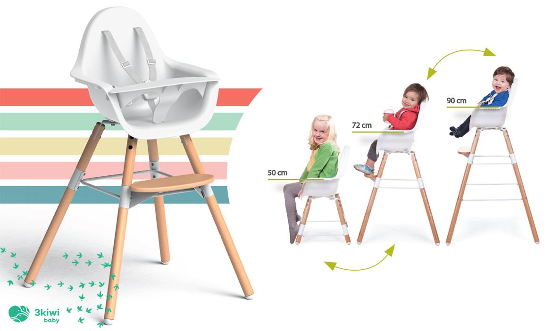 Krzesełko Childhome Evolu 2 inspirowane krzesłem DSW Charles and Ray Eames może osiągnąć wysokość aż 90cm