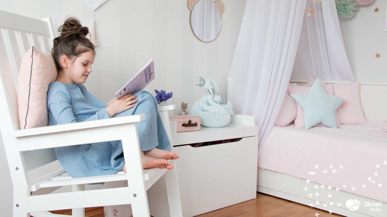 Fotel bujany Pinio dla dziecka to fantastyczny mebel dla pokoju dziecięcego, wykonany z litego drewna sosnowego. Meble Pinio to najwyższa jakość. 3kiwi.