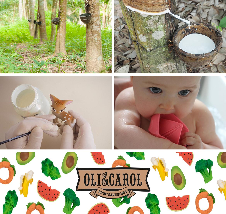 kauczukowy gryzak ekologiczny dla dziecka oli carol 3kiwi wroclaw