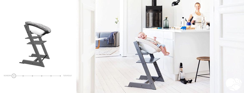 Krzesełko Stokke Tripp Trapp na etapie od 0 do 6 miesięcy należy używać z zamontowanym Newborn Set