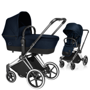 CYBEX | PLATINUM | PRIAM | WÓZEK GŁĘBOKO SPACEROWY | LUX COT & LUX SEAT & CHROME FRAME | MIDNIGHT BLUE