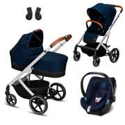 Cybex | Balios S | Wózek Głęboko-Spacerowy z Fotelikiem Cybex Aton 5 | Zestaw 3w1 | Denim Collection | Denim Blue