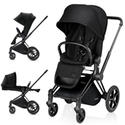 Cybex | Priam | Wózek Spacerowy | Lux Seat & Matt Black Frame & All Terran Wheel Set | Stardust Black