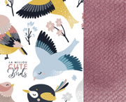 La Millou | Velvet Collection | Angel's Wings | Poduszka Antywstrząsowa | Cute Birds Vivid | French Lavender