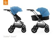 STOKKE® SCOOT WÓZEK GŁĘBOKO-SPACEROWY BLACK / BLUE 2017