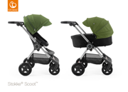 STOKKE® SCOOT WÓZEK GŁĘBOKO-SPACEROWY BLACK / GREEN 2017