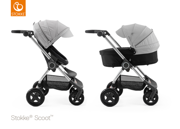 STOKKE® SCOOT WÓZEK GŁĘBOKO-SPACEROWY BLACK / GREY MELANGE 2017