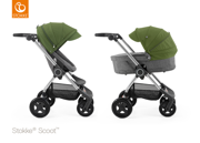 STOKKE® SCOOT WÓZEK GŁĘBOKO-SPACEROWY BLACK MELANGE / GREEN 2017