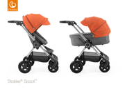 STOKKE® SCOOT WÓZEK GŁĘBOKO-SPACEROWY BLACK MELANGE / ORANGE 2017