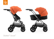 STOKKE® SCOOT WÓZEK GŁĘBOKO-SPACEROWY BLACK / ORANGE 2017