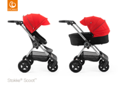 STOKKE® SCOOT WÓZEK GŁĘBOKO-SPACEROWY BLACK / RED 2017