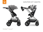 STOKKE® SCOOT WÓZEK SPACEROWY BLACK / BLACK MELANGE + WINTER KIT FLANNEL GREY GRATIS!