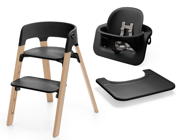 Stokke | Steps | Beech Chair | Zestaw 3w1 Krzesełko + Baby Set + Tacka | Black + Natural