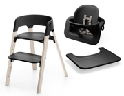 Stokke | Steps | Beech Chair | Zestaw 3w1 Krzesełko + Baby Set + Tacka | Black + Whitewash