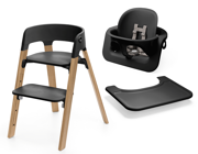 Stokke | Steps | Oak Chair | Zestaw 3w1 Krzesełko + Baby Set + Tacka | Black + Natural