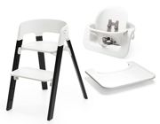 Stokke | Steps | Oak Chair | Zestaw 3w1 Krzesełko + Baby Set + Tacka | White + Black
