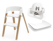 Stokke | Steps | Oak Chair | Zestaw 3w1 Krzesełko + Baby Set + Tacka | White + Natural
