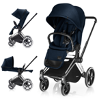 CYBEX PRIAM WÓZEK SPACEROWY LUX SEAT MIDNIGHT BLUE & STELAŻ CHROME ALL TERRAIN - KOLEKCJA 2017