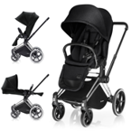 CYBEX PRIAM WÓZEK SPACEROWY LUX SEAT STARDUST BLACK & STELAŻ CHROME ALL TERRAIN - KOLEKCJA 2017