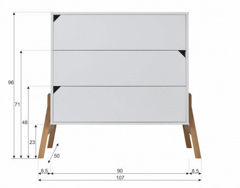 Bellamy | Lotta | Chest of Three Drawers | Komoda | Grey + Natural